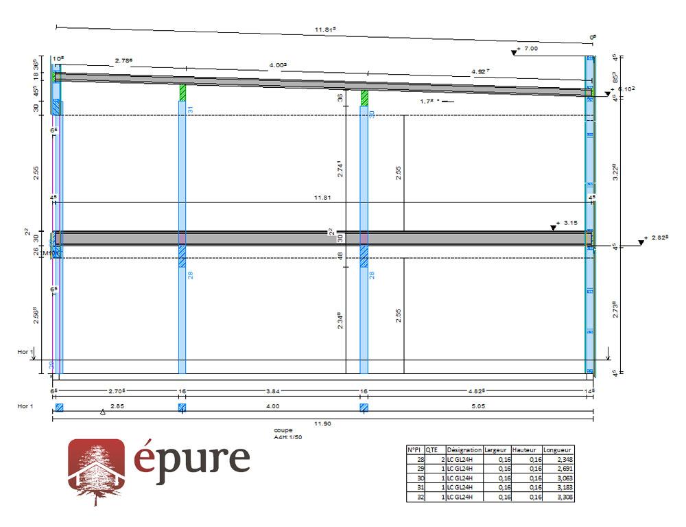 Construction bureau ossature bois Toulouse  epure bois ~ Plan Ossature Bois