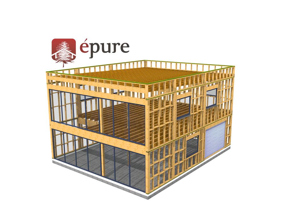 Construction bureau ossature bois toulouse epure bois for Batiment structure bois