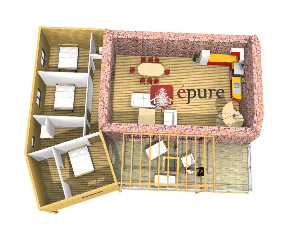 Extension ossature bois agen d 39 aveyron epure bois for Conception 3d maison