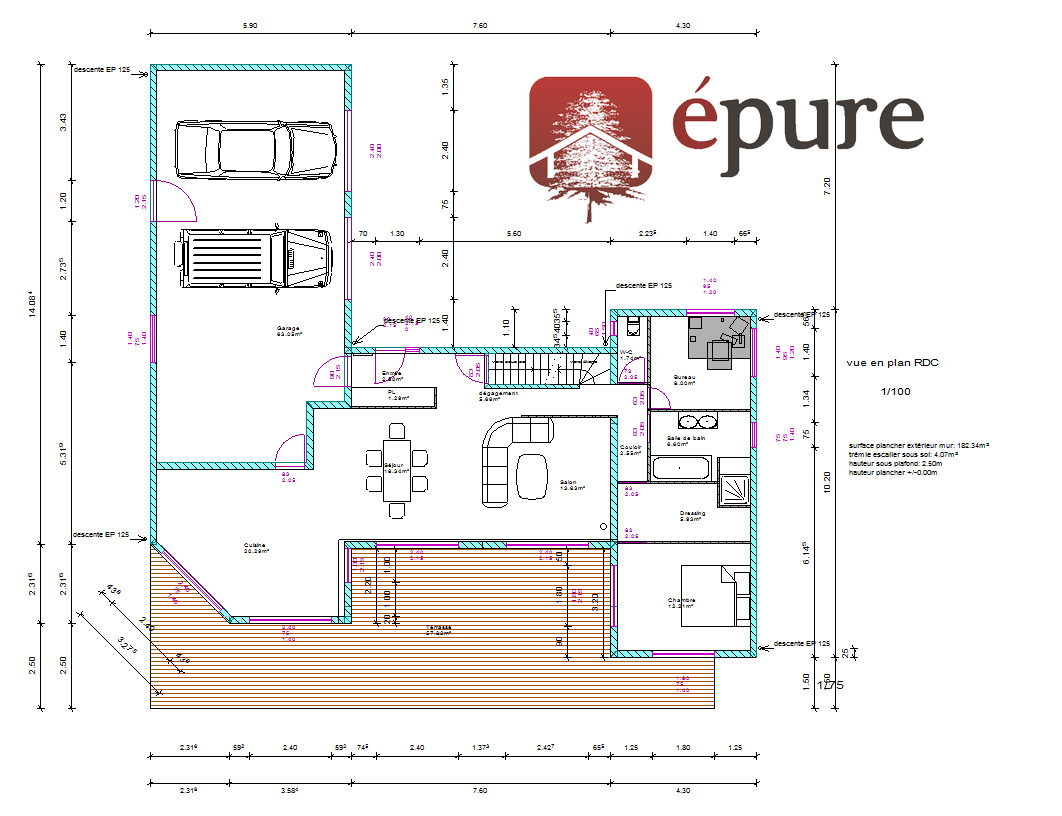 Amenagement interieur maison ossature bois maison moderne for Plan interieur maison en bois