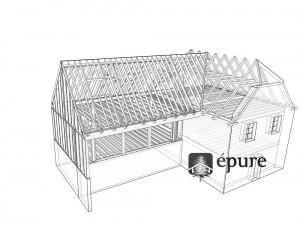vue 3D structure extension ossature bois st cyprien epure construction bois
