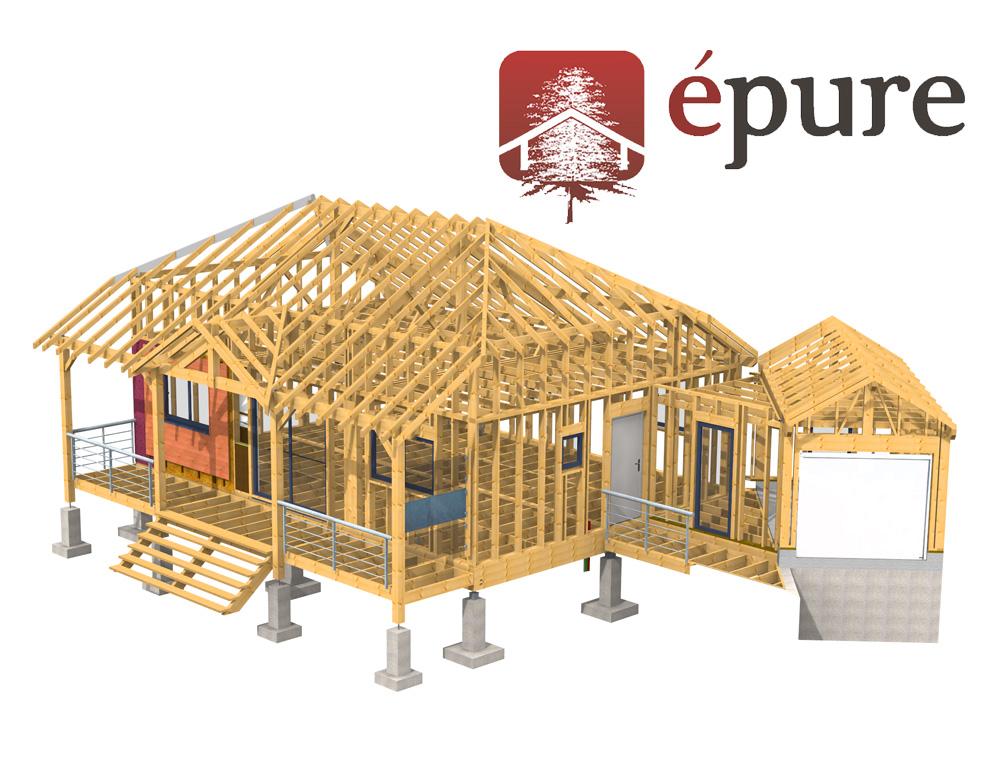 vue 3d structure maison ossature bois salmiech epure bois