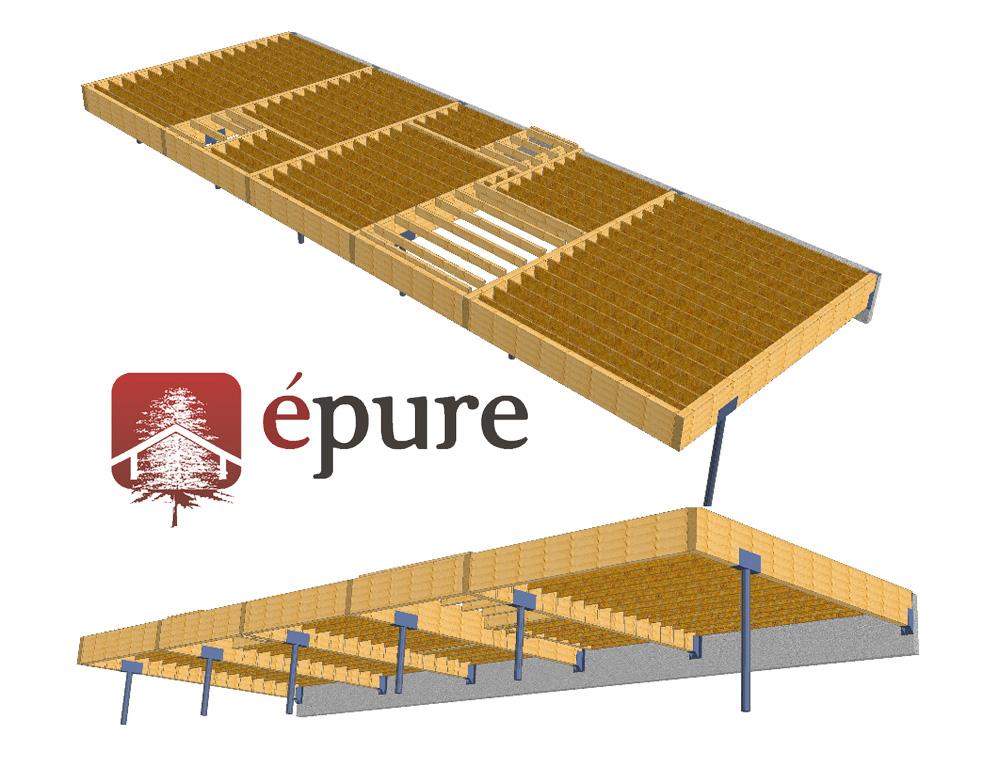 vue 3d structure plancher maison ossature bois firmi
