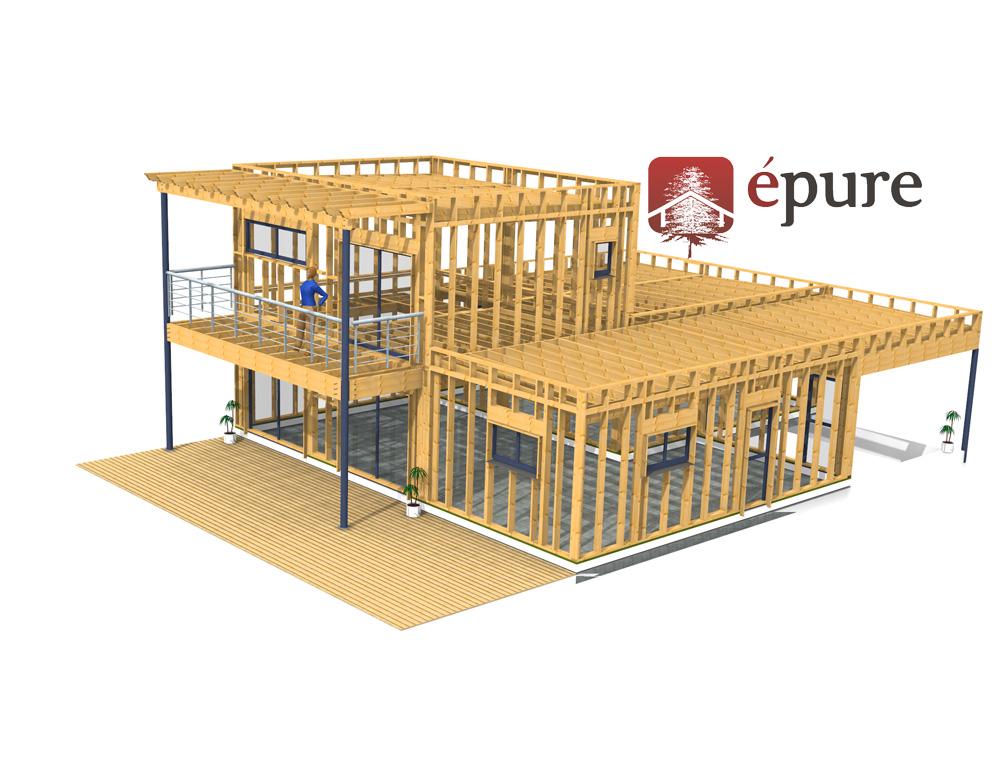 Structure bois maison fabulous plan maison meubl une for Ossature en bois