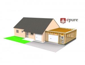 vue 3D structure ossature bois extension epure construction bois