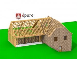 vue 3D 1 structure extension ossature bois st cyprien epure construction bois